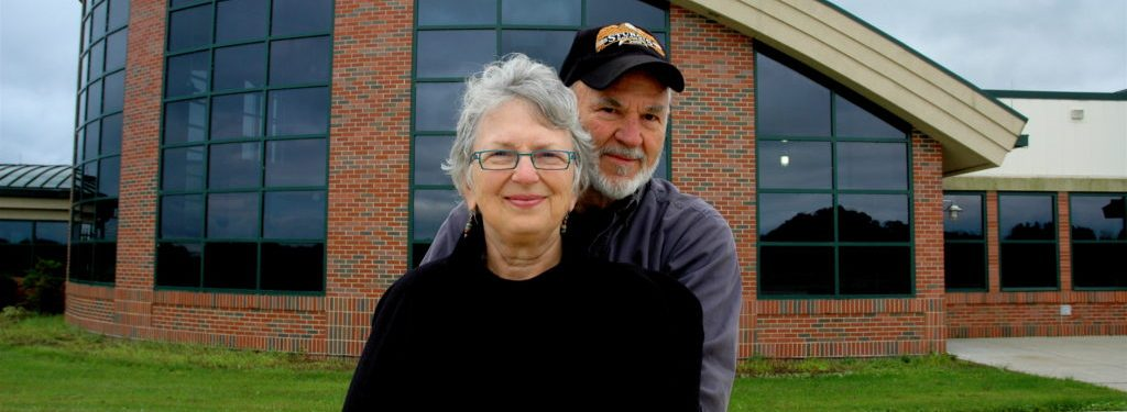 Mary Ann Flournoy and her husband, Dan, in front of the Athens Community Center.